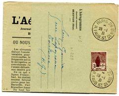 PARIS 26 N°229 Oblitéré Du 28/01/1931 Sur Bande Intacte Du Journal L AEROGRAMME - Marcophilie (Lettres)