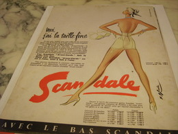 ANCIENNE  PUBLICITE MOI J AI LA TAILLE FINE GAINE SCANDALE  1958 - Vintage Clothes & Linen