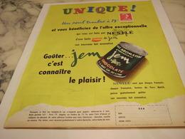 ANCIENNE PUBLICITE UNIQUE CHOCOLATE JEM DE NESTLE 1958 - Affiches