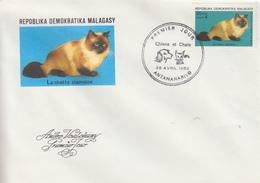 Enveloppe  FDC  1er  Jour    MADAGASCAR    La   Chatte  Siamoise    1985 - Hauskatzen