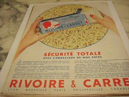 ANCIENNE PUBLICITE SECURITE TOTAL PATE ALIMENTAIRE  RIVOIRE & CARRET 1958 - Afiches