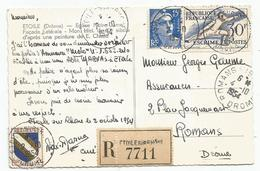 GANDON 15FR+ 2FR+30FR ESCRIME CARTE RECOMMANDE ROMANS 2.10.1954 RARE AU TARIF - 1945-54 Marianne Of Gandon