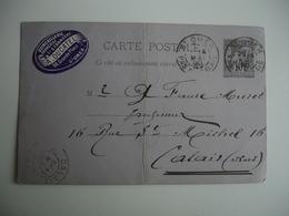Daguin Double Jumele Saint Omer Sur Entier Postal Sage - Marcophilie (Lettres)