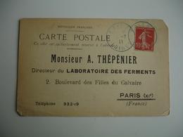 Couleur Bleue Epieds Obliteration Sur Lettre Accuse Reception Laboratoire Thepenier - Marcophilie (Lettres)