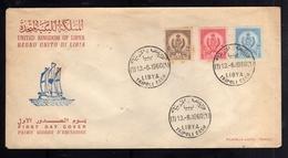 LIBYA LIBIA UNITED KINGDOM REGNO UNITO 13 6 1960 STEMMA COAT OF ARMS 15m 30m 45m FDC - Libia