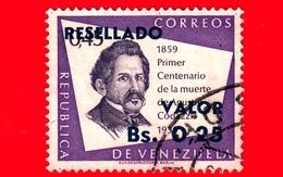 VENEZUELA - Usato - 1965 - 100 Anni Della Morte Di Agustin Codazzi - Resellado - 0.25 Su 45 - Venezuela