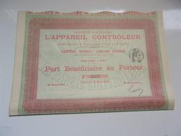 L'APPAREIL CONTROLEUR (1894) - Actions & Titres