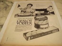 ANCIENNE PUBLICITE PETIT GATEAUX  SABLE DES FLANDRES GESLOT VOREUX 1958 - Affiches