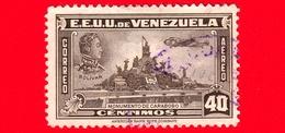 VENEZUELA - Usato - 1940 - Simón Bolívar E Monumento A Carabobo - 40 P. Aerea - Venezuela