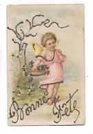 """Petit Cupidon / Ange  Porte  Panier  Des  Violettes   """" Bonne  Fete """"  - Scintillant  Ajouté - Zonder Classificatie"""