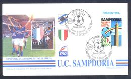 Italy 1991 Cover: Football Fussball Soccer Calcio: Sampdoria Italian Champion; Campione D'Italia - Famous Clubs