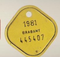 Plaque Vélo Brabant  1981 - Autres Collections