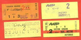 France 1991-92. City Paris. Lot Of 4 Tickets. - Season Ticket