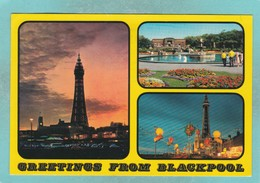 Small Multiy View Post Card Of Greetings From Blackpool,Lancashire,K85. - Blackpool