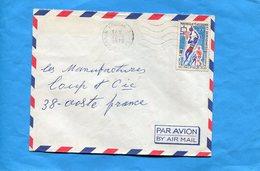 Marcophilie-lettre-NLLE Calédonie-pour Françe-cad-KOUMAC-1972- Stamps-N°376 Sports-baskett Ball -jeu Du Pacifique - Lettres & Documents