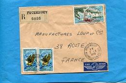 Marcophilie-lettre -NLLE Calédonie-pour Françe-cad-POUEMBOUT-1972-3- Stamps-N°346 BIirds+A109Ligne Paris Nouméa - Covers & Documents