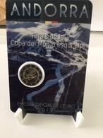 """Pièce Commémorative 2 Euro  Andorre  2019 Sous Blister """"  Coupe Du Monde De Ski """" - Andorra"""