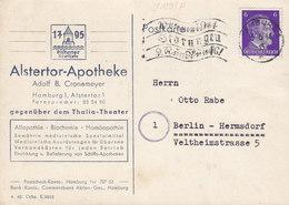 Germany Deutsches Reich ALSTERTOR-APOTHEKE Slogan 'Rundfunk Störungen' HAMBURG 1944 Card Karte BERLIN-HERMSDORF - Allemagne