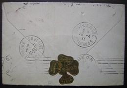 Paris 1911 Pâtisserie Confiserie Braun, étiquette En Forme De Trèfle Collée à L'arrière D'une Lettre Reroutée à Lille - Poststempel (Briefe)