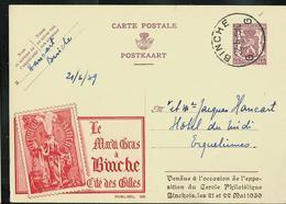Publibel Obl. N° 355  Rouge( Le Mardi Gras à Binche Cité Des Gilles) Obl. Binche  G G   21/05/1939 - Ganzsachen