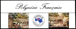 POLYNESIE 1984 - Yv. PA 185A = 185 En Paire **   Cote= 10,00 EUR - Tryptique Expo AUSIPEX'84  ..Réf.POL23703 - Airmail