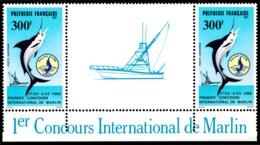 POLYNESIE 1986 - Yv. PA 190A = 190 En Paire **   Cote= 25,00 EUR - Tryptique Concours Pêche Au Marlin  ..Réf.POL23714 - Luftpost