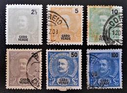 CARLOS 1ER 1898/01 - OBLITERES - YT 37/39 + 41 + 43 + 46 - Cap Vert