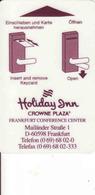 Germany, Hotel Magnetic Keycard, Holiday Inn Hotel - Frankfurt - Cartes D'hotel