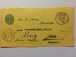 SWITZERLAND 1901 Newspaper Wrapper Emmen To Biel Re-directed To Brig - 1882-1906 Stemmi, Helvetia Verticalmente & UPU