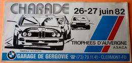 AUTOCOLLANT STICKER  - CHARADE 1982 TROPHEES D'AUVERGNE - BMW GARAGE DE GERGOVIE - COURSE AUTOMOBILE - Autres