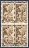 1950-(MNH=**) Italia Quartina L.40 Italia Al Lavoro Filigrana Ruota - Italia