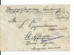 Lettre Franchise Militaire En Provenance D'Allemagne Pour Le Camp Des Evacués De Sainte Affrique ( Aveyron) ,1917 - France