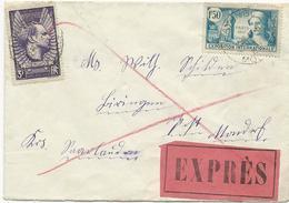 LETTRE EXPRES POUR LA SARRE 1937 AVEC 2 TIMBRES MERMOZ / EXPOSITION INTERNATIONALE PARIS - Postmark Collection (Covers)