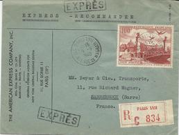 LETTRE RECOMMANDEE EXPRES POUR LA SARRE 1949 AVEC TIMBRE A 100 FR POSTE AERIENNE CONGRES C.I.T.T. PARIS - Postmark Collection (Covers)