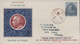 1965-India Lettera Fdc Affrancata 15p.Nehru ( Soprastampato ICC Per L'uso In Laos E Vietnam)con Annullo Army Day 742 F.P - Vietnam