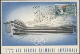 1956-Cortina Stadio Del Ghiaccio Cartolina Ufficiale Edita Dal Comitato Organizzatore Dei VII G.O.I.affrancata L.10 Con - 1946-60: Storia Postale