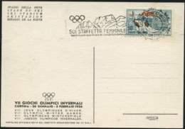 1956-Cortina Stadio Della Neve Cartolina Ufficiale Edita Dal Comitato Organizzatore Dei VII G.O.I.affrancata L.10 Con An - 1946-60: Storia Postale