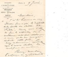 Correspondance Ministere De L'agriculture Direction Des Haras Depot D'etalons De Saintes - Saintes