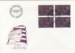 1981-Svizzera Quartina Del Pro Aereo Fr.2+1 Su Fdc Illustrata (sotto Facciale) - FDC