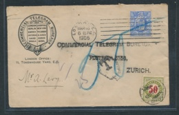 UK-Telegram In Die Schweiz Nachporto  (oo7770 ) Siehe Scan - Storia Postale