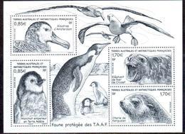 TAAF 2018 - BF Faune Protégée Des TAAF - Albatros / Manchot / éléphant De Mer / Otarie ** - Blocks & Sheetlets
