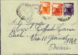 1947-cat.Filagrano Euro 200, Biglietto Postale L.4 Viola Fiaccola Con Affrancatura Aggiunta,varieta' S Di POSTALE Piu' A - 1946-60: Storia Postale