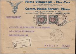 Italien 83 König Victor Emanuel MeF R-Brief Films Vitagraph MILANO 10.11.1924 - Italien