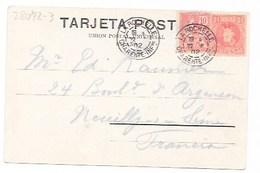 1902 LA CORUNA -TARJETA POSTAL FRANQUEO MIXTO LA ROCHELLE - Cartas