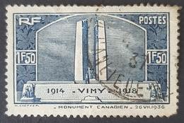 1936, Vimy War Monument, France, Republique Française, *,**, Or Used - Oblitérés
