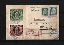 1911 ALTDEUTSCHLAND BAYERN → GA ZuF R-Postkarte Münschen Nach Wörth  ►RAR◄ - Bayern