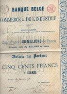 BANQUE BELGE  Commerce & De L'industrie - Banque & Assurance