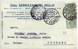 346 BOLOGNA SERRAZANETTI COSTR. DIFESE FLUVIALI SPONDE MARI X LEGNAGO - Storia Postale
