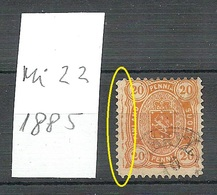 FINLAND FINNLAND 1885 Michel 22 Variety ERROR Abart O - 1856-1917 Russische Verwaltung
