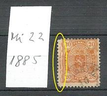 FINLAND FINNLAND 1885 Michel 22 Variety ERROR Abart O - Gebraucht